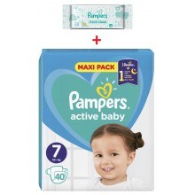 Pampers Active Baby Maxi pack 7 пелени 15кг+ 40бр. + подарък мокри кърпи