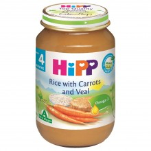 Хип пюре - Hipp Bio Ориз и моркови с телешко месо 190гр.