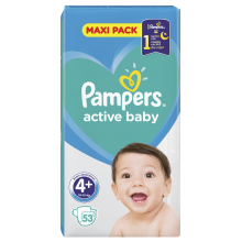 Pampers Active baby maxi pack 4+ пелени 10-15кг. 53бр.