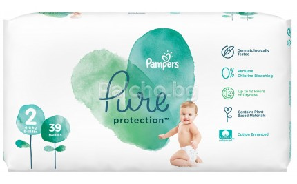 Pampers Pure Protection Пелени 2 4-8кг 39бр