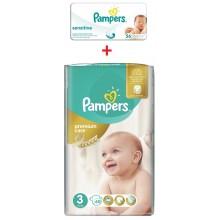 Pampers Premium Care 3 пелени 5-9кг. 60бр. + подарък мокри кърпи