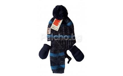 Комплект шал, шапка и ръкавици 0-18 месеца