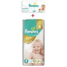 Pampers Premium Care 4 пелени 8-14кг. 52бр. + подарък мокри кърпи