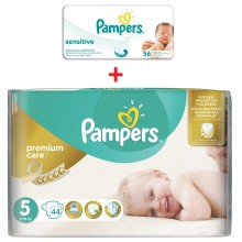 Pampers Premium Care 5 пелени 11-18кг. 44бр. + подарък мокри кърпи
