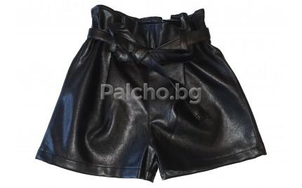Контраст къси кожени панталони 104-152