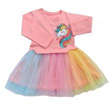 Детска рокля с тюл Еднорог 86-116