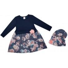 Детска рокля с шапка Цветя 86-116