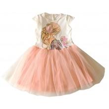Детска лятна рокля с тюл 116-146