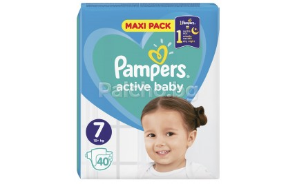 Pampers Active Baby Maxi pack 7 пелени 15кг+ 40бр.