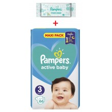 Pampers Active baby maxi pack 3 пелени 6-10кг. 66бр. + подарък мокри кърпи