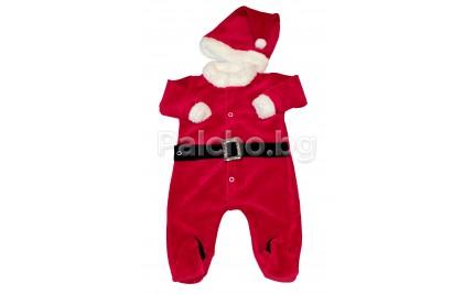 Бебешки Коледен гащеризон с шапка 56-74