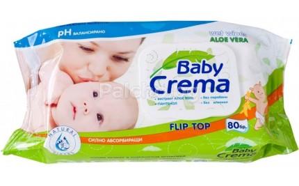 Baby crema Влажни кърпи с алое 80бр.