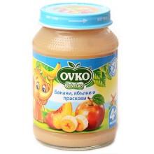 Овко пюре - Ovko Банани с ябълки и праскови 190гр.