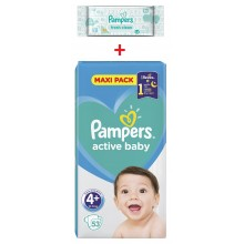 Pampers Active baby maxi pack 4+ пелени 10-15кг. 53бр. + подарък мокри кърпи