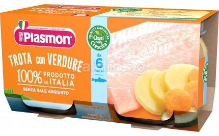 Плазмон пюре - Plasmon Пъстърва със зеленчуци 2x80гр.