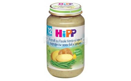 Хип пюре - Hipp Bio Картофи със зелен боб и заешко 220гр.