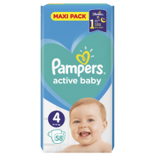 Pampers Active baby Maxi pack 4 пелени 9-14кг. 58бр.