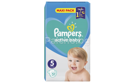 Pampers Active baby maxi pack 5 пелени 11-16кг. 51бр.