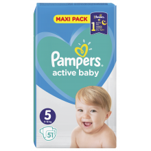 Pampers Active baby maxi pack 5 пелени 11-16кг. 50бр.