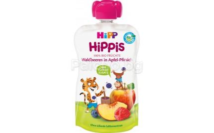 Hipp Bio Плодова закуска Ябълка и праскова с горски плодове 100гр
