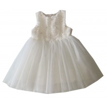 Контраст официална бяла рокля 80 см