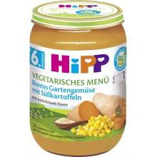 Хип пюре - Hipp Bio Вегетарианско меню градински зеленчуци и сладки картофи 190гр.