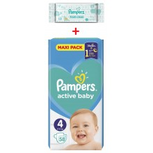 Pampers Active baby Maxi pack 4 пелени 9-14кг. 58бр. + подарък мокри кърпи