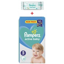 Pampers Active baby maxi pack 5 пелени 11-16кг. 51бр. + подарък мокри кърпи