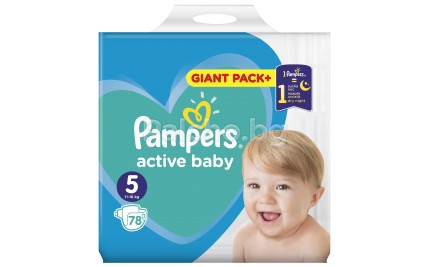 Pampers Active baby 5 Пелени 11-16кг. 78бр.