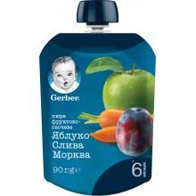 Gerber Гербер Мус ябълка, сливи и морков 90гр.
