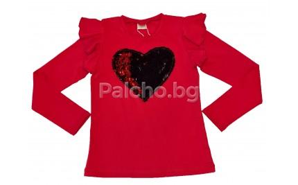 Контраст блуза за момиче Сърце 128-158