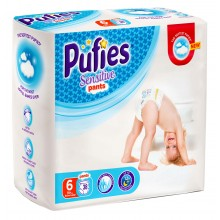 Pufies Sensitive Pants 6 еднократни гащички 15кг.+ 38бр.