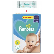 Pampers Active Baby Maxi pack 2 пелени 4-8кг. 76бр. + подарък мокри кърпи