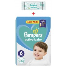 Pampers Active Baby Maxi pack 6 пелени 13-18кг 44бр. + подарък мокри кърпи