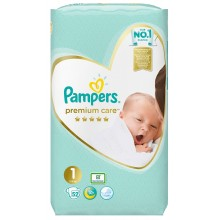 Pampers Premium Care 1 пелени 2-5кг. 52бр.