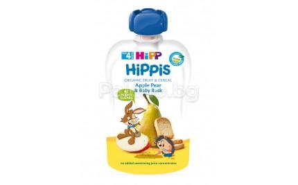 Hipp Bio Плодова закуска Ябълка, круша и сухар 100гр.