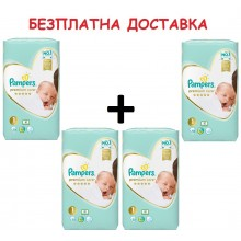 Pampers Premium Care 1 пелени 2-5кг. 208бр + Безплатна доставка до офис на Еконт/Спиди